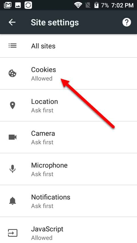 android cookies mobile