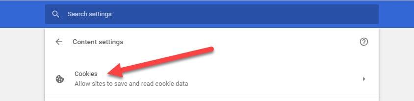chrome cookies settings