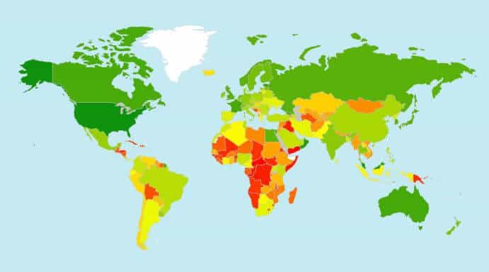 A heat map from the ITU cybersecurity survey.