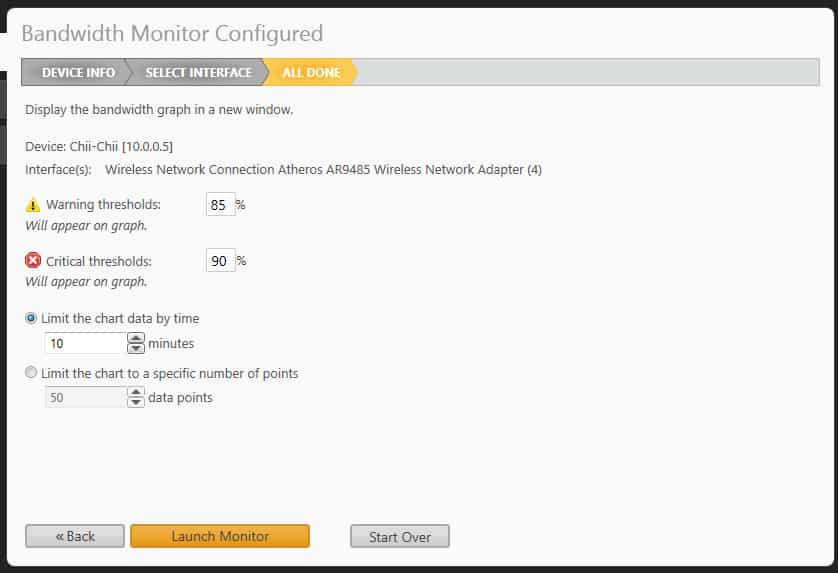SolarWinds RTBM: Setting thresholds for alerting on an interface's usage