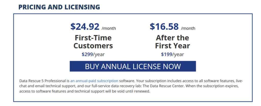 data rescue 5 pricing