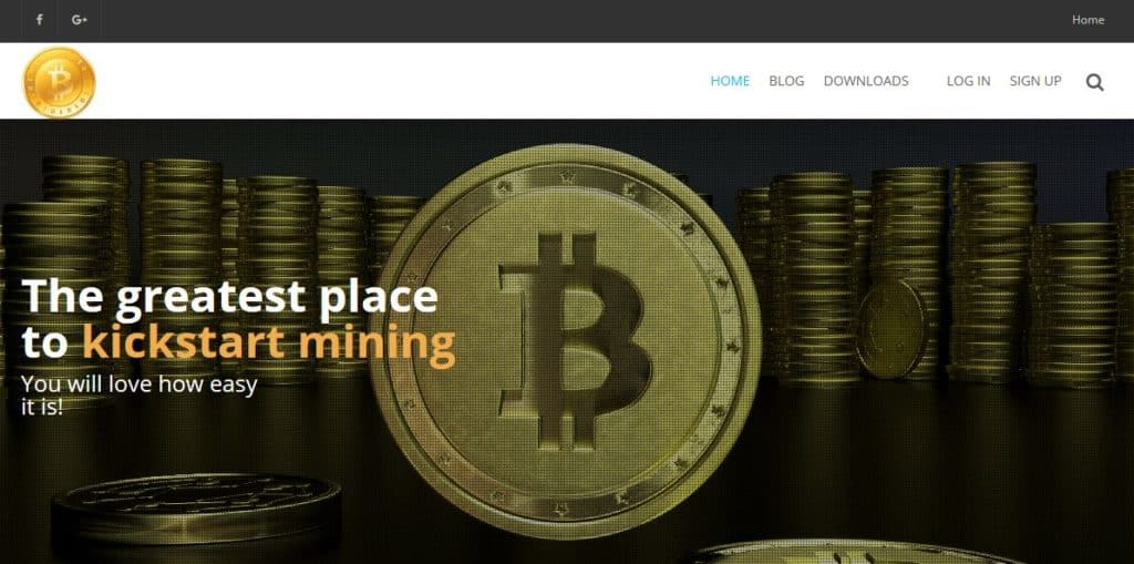 The EasyMiner homepage.