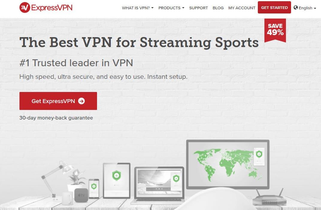 ExpressVPN best for streaming sports