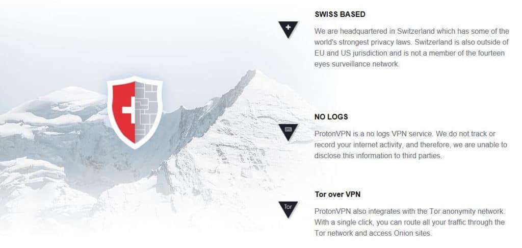 ProtonVPN Swiss-based information.