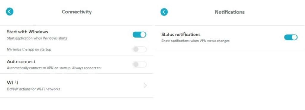 Surfshark desktop Connectivity and Notifications screens.
